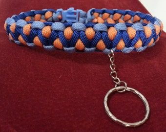 Beautiful Blue and Orange paracord collarBDSM - S & M and kinky fetish play - Domination submission play