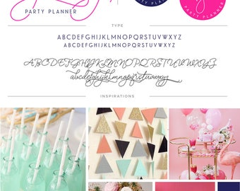 Party Planner Logo Design, Rose Gold Logo Design, Calligraphy, Branding kit, feminine Branding Package, stamp, Photography Logo, watermark