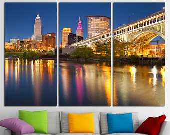 Cleveland downtown Cleveland Canvas Set Cleveland City Cleveland Skyline Cleveland Print Cleveland Photo Cleveland Poster Cleveland Wall Art