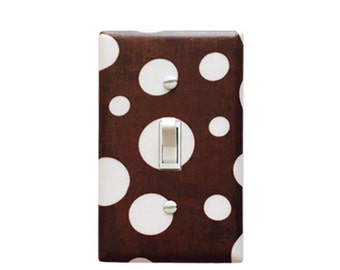 Polka Dot Light Switch Plate Cover - Baby Girl Nursery Decor - Baby boy nursery- Girls Room- Brown and  White -Michael Miller