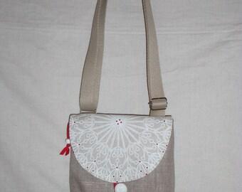 Small bag shoulder strap adjustable, beige, rabat to motive rose white, red lining