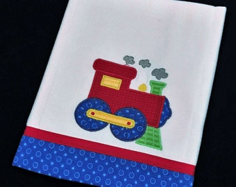 Baby boy applique train burp cloth