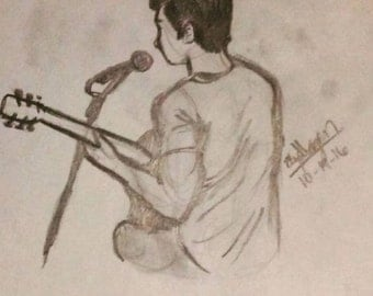 Boy With Guitar Pencil Drawing