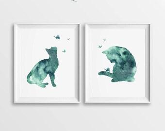 Set of 2 Cat Prints, Prints of Cats, Turquoise Cats, DIY Wall Art, Large Digital Art, Digital Cats Art, Cats Home Decor, Two Cats, Printable