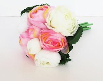 White Pink Silk Ranunculus Bouquet Artificial Silk Flowers Bouquets Buttercup Goldcup Flower Wedding Bouquets Decoration Decor Spring Summer
