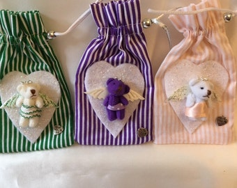Scented pouch wardrobe freshener with cute Angel  mini bear decoration