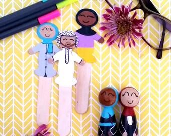 Islamic Book Mark/Muslim Stick Puppet/Montessori Toy/Muslim Doll/Book Mark/Islamic Party Favor/Stick Doll/ Stick Figure/Book Mark/Hijab/Peg