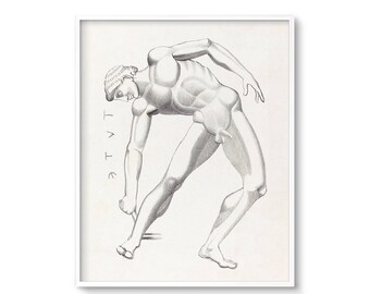 Lithograph Print, Male, Figure Drawing, Antique Lithograph, Neoclassical, Retro, Printable Art, Tydaeus, Greek Mythology, Art, Vintage