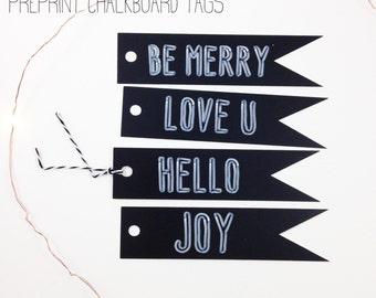 Christmas Gift Tags- Chalkboard Tags, Christmas Tags, Christmas Gift Wrap, Holiday Gift Wrap, Preprint Chalkboard Tags, Set of 16 W/ Twine