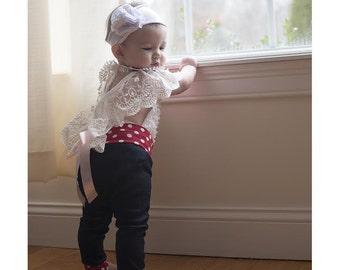 Baby leggings - Toddler Leggings - Baby jeggings - Baby Clothes -red polka dot