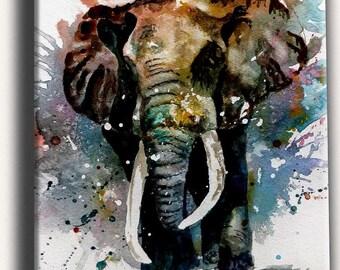 Elephant oil painting on canvas, elephant art, elephant home decor, handmade