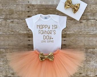 Father's Day Onesie, First Father's Day Onesie, Father's Day Tutu Outfit, Peach Tutu