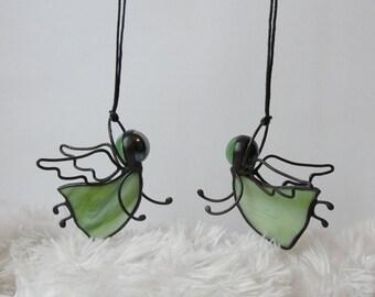 Stained Glass Light Green Guardian Angel Suncatcher Ornaments Decor