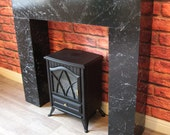 Modern Chunky Black Marble Effect Box Fire Surround