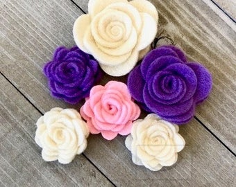 Wool Felt Rose Flowers Craft Supply - Set of 5