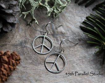 Handcrafted Sterling Silver Peace Sign Earrings, Hippie Earrings, Artisan Sterling Silver Earrings, Peace Earrings, Love Earrings