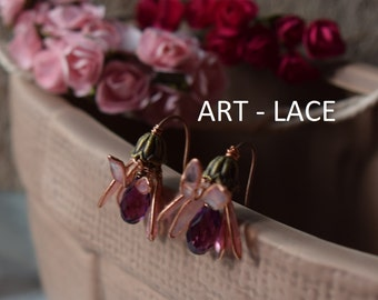 Rose gold Flower earrings for women Wedding flower earrings Vintage earrings Rustic wedding Pink flower stud Swarovski earrings resin wire