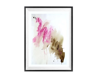 Abstract Wall Art, Modern wall art, Drip art painting, Original watercolor painting, Brown abstract wall decor, Pink abstract, 21 x 14 in