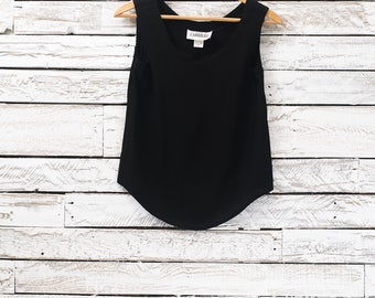 Vintage black tank top | Black Camisole | Black summer top | Small tank top for Women