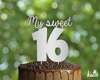 My Sweet sixteen Birthday Cake Topper, My Sweet 16 cake topper, Sweet Sixteen, 16th birthday, Quinceanera cake topper, Quinceanera party