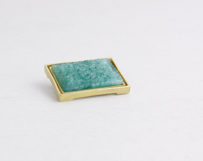 Vintage peking glass brooch, green carved glass ladies accessory pin ca 1940s, square pin, rectangular brooch ladies accessory gift idea