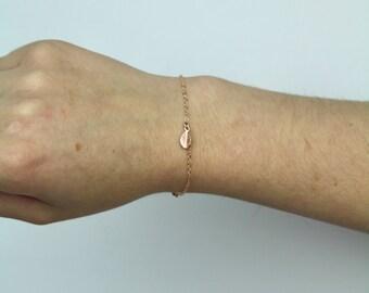 14K Rose Gold Leaf Bracelet - TinyLittlePiecesShop