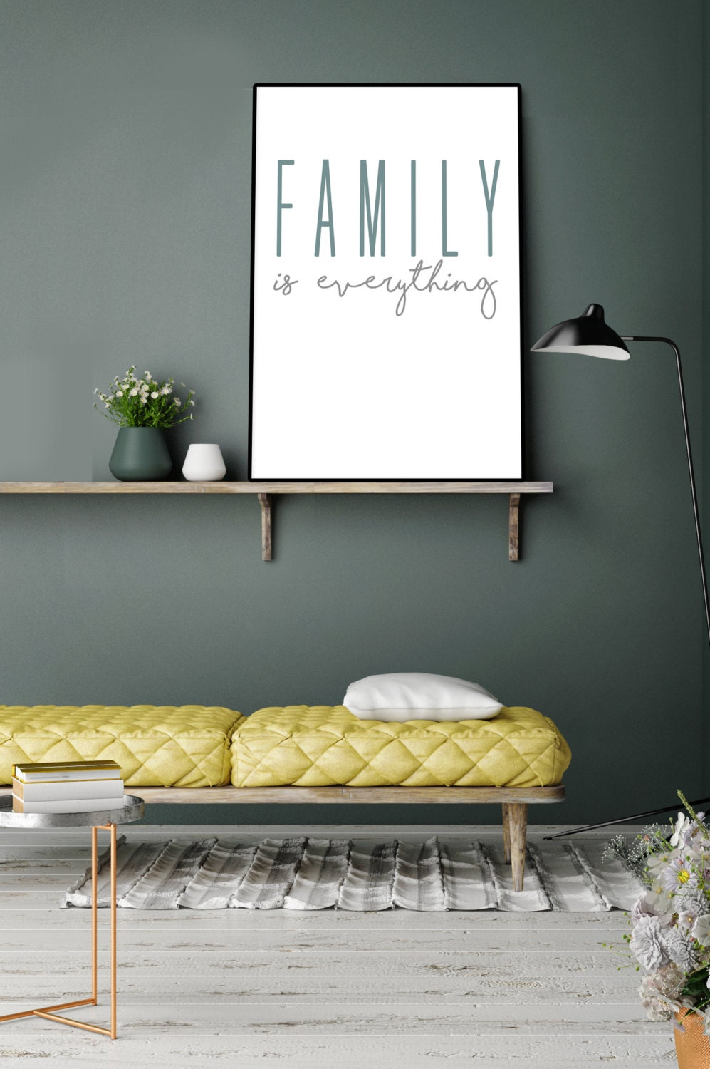family is everything modern print home decor -