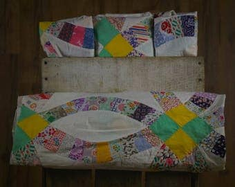 Vintage Multicolor Double Wedding Ring Quilt Top Piece
