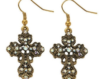 Vintage Look Dangle Cross Earrings Gold EA6087j