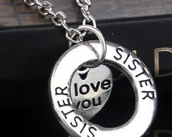"Silver Dual Pendant Sister ""Love You"" Necklace NK4056i"