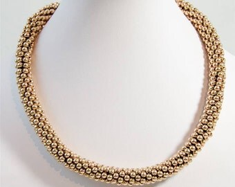 Golden Beaded Collar Necklace