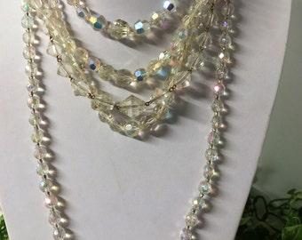 A Beautiful Lot of 5 Aurora Borealis Faceted Glass Bead Necklaces - Chokers