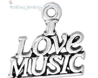 10 pcs - Antique Silver - I Love Music Charms - Music Charms- Music Pendant - Music Jewelry - Word Charms - Music Charm - Music - C0073