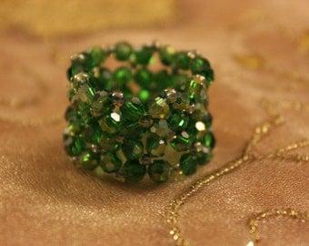 Green Crystal band ring