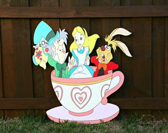 2.8 FT Alice In Wonderland Party Tea Cup Cutout Standee Photo Prop