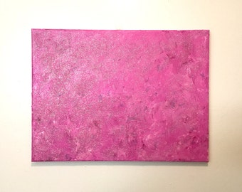 "Bright Pink Glitter Art, Abstract Art, Acrylic Painting on Canvas - Medium Size 16""l x 12""h - Nursery Art for Girl - Pink Glitter Painting"
