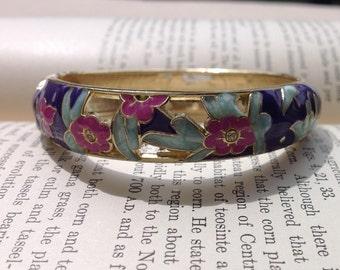 Vintage Enamel Hinged Bracelet, Purple with Flowers