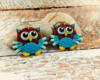 Cute owls Owls earrings Birds jewelry Colorful owl Clay owls Owl gifts Owl lovers Kawaii owls Polymer earrings
