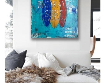 Original Abstract Acrylic Canvas Surf Painting