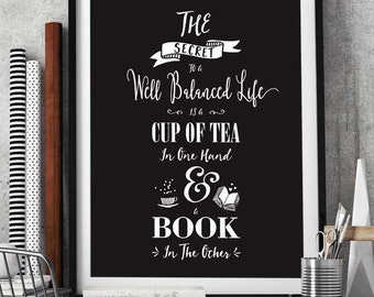 Gift for Book Lovers   Book Quote   Tea Quote   Wall Art   Giclée print with mount