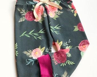 Gemstone floral leggings | floral pants | jogger pants | baby leggings | infant leggings | newborn leggings | toddler leggings | girl pants