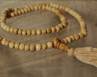 Mala for wrist in bone white 108 beads