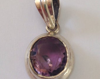 Beautiful Sterling Silver Amethyst Pendant, Sterling Silver Pendant, 925 Silver, Purple Pendant