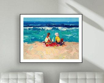 Children playing on Beach Prints Kids Art Prints Children Prints Kids Ocean Prints Nursery Room Art for Kids Room Kids Gifts Christmas Gifts