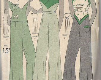 1930s Vintage Sewing Pattern B36 BLOUSE & PAJAME PANTS (Not pyjamas, not bedwear) Beach Pants (1798) Simpliciry 1183