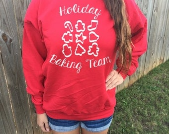 Holiday Baking Team Funny Christmas Sweater Unisex Holiday Sweater Ugly Xmas Sweater