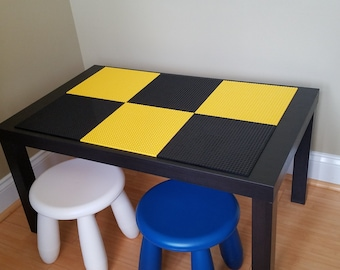 Kids Lego Brick Building Table with 2 Chairs. Batman Colors