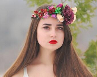 Purple flower crown Flower headband Fall flower crown headband Wedding flower  boho flower girl Flower halo boho floral crown flower girl