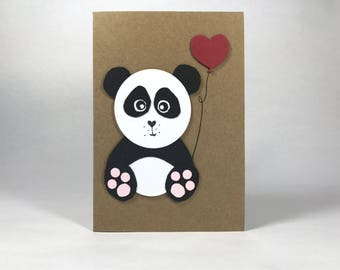 Panda With Red Balloon Card - Just Because - Birthday