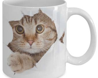 Cute Cat Looking From The Inside Coffee Mug